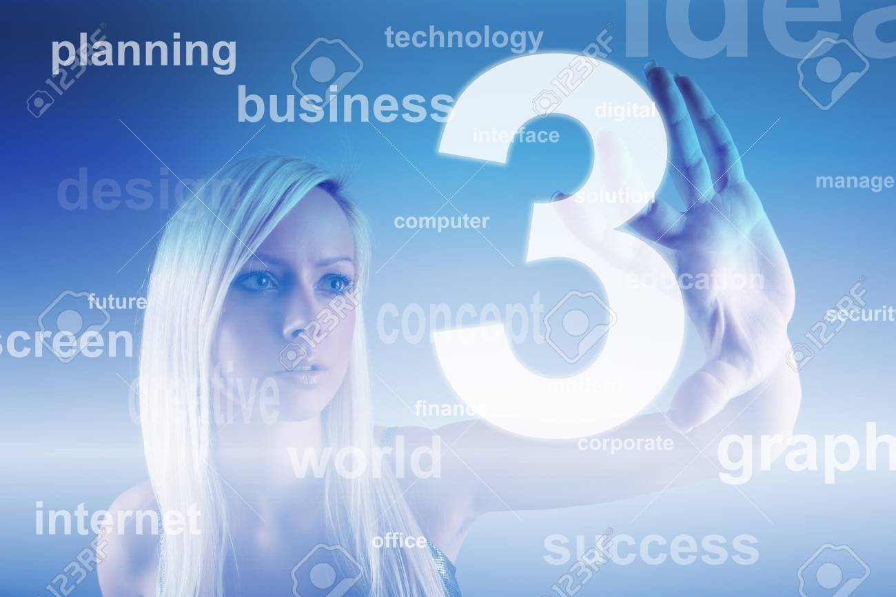 Business concept - girl with screen Stock Photo - 13173488