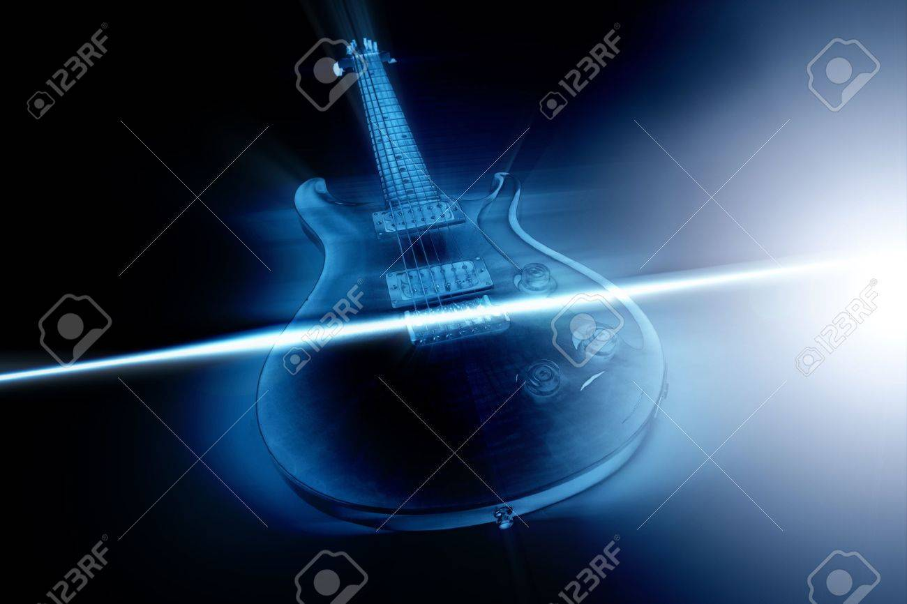 Electric guitar and ray of light - 15167865