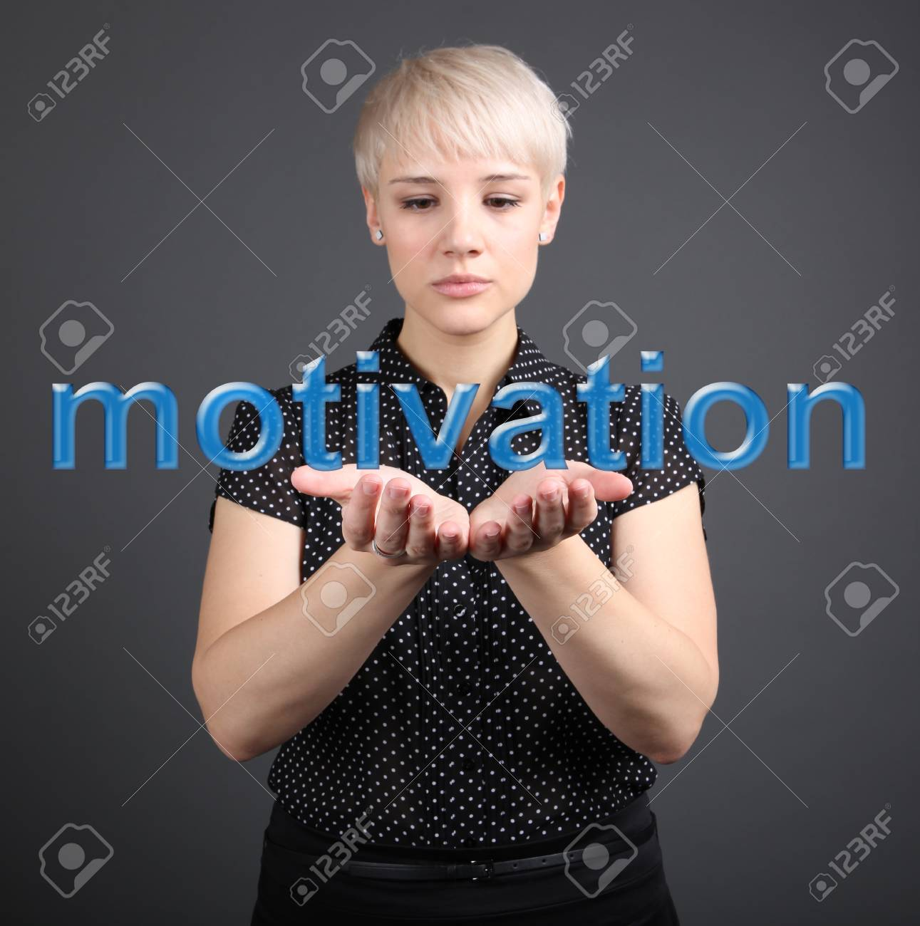 Girl holding motivation sign - business concept Stock Photo - 17394721