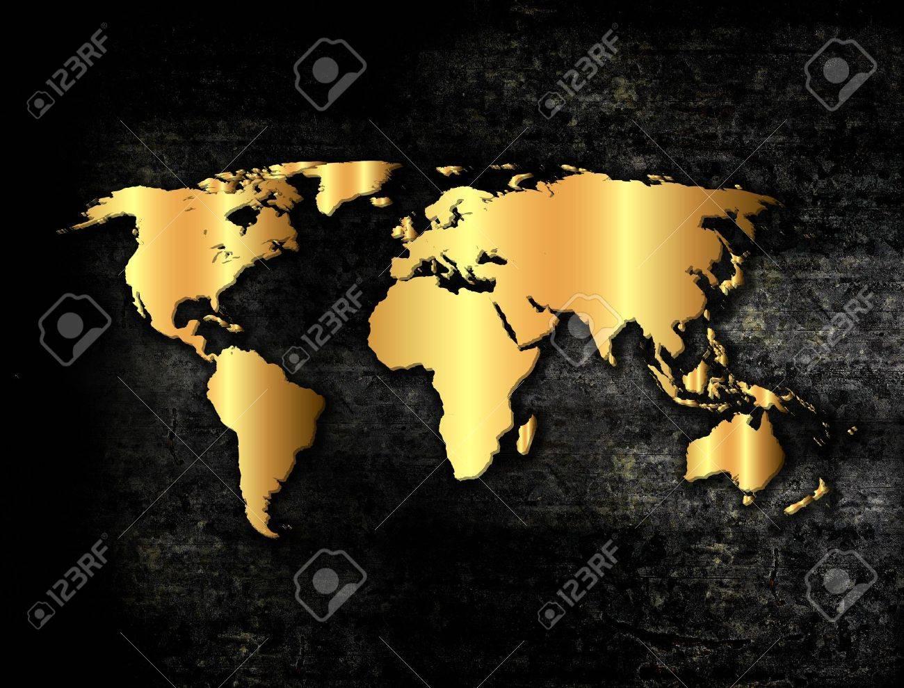 Golden world map in grunge style - 17323016
