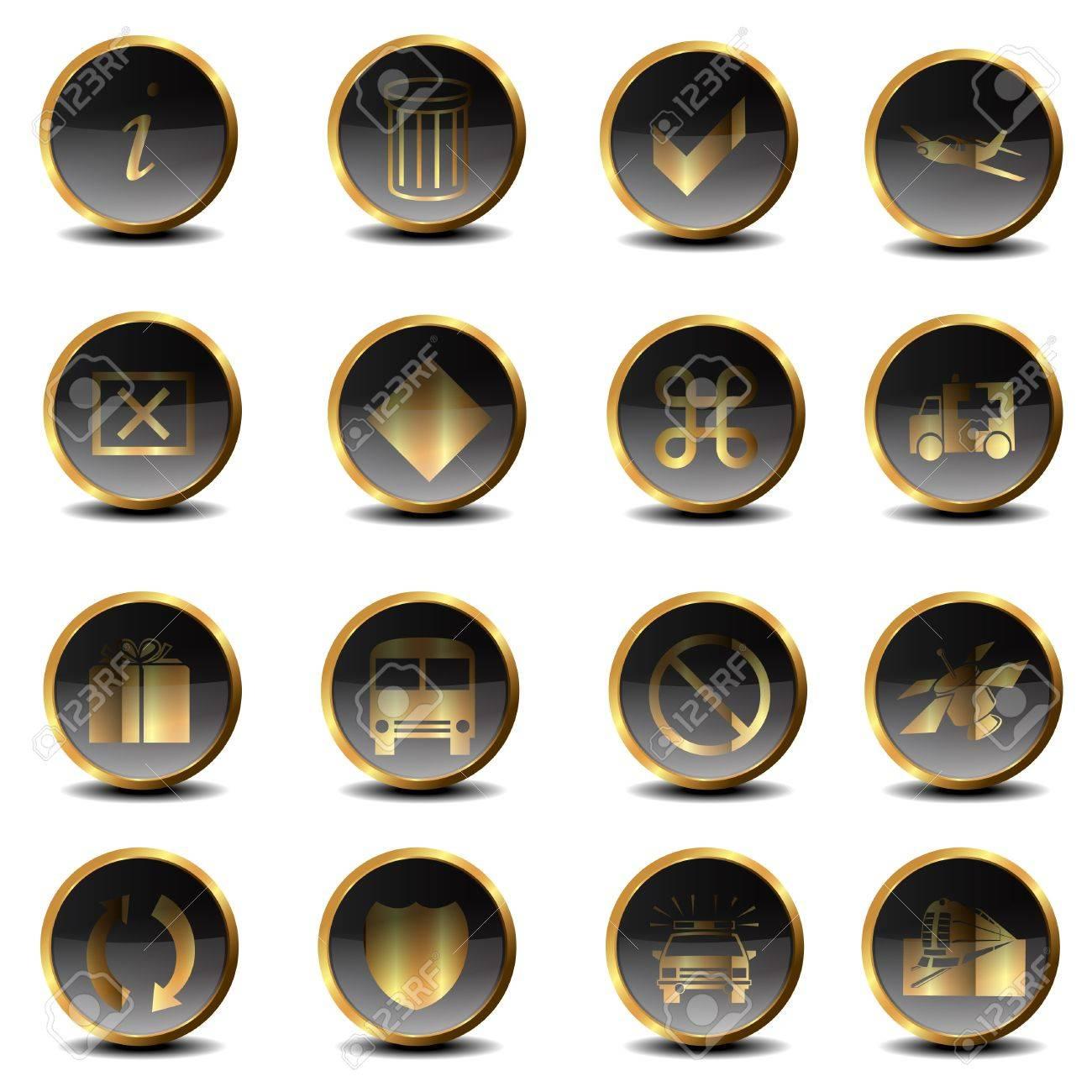 Set of golden icons Stock Photo - 17671101