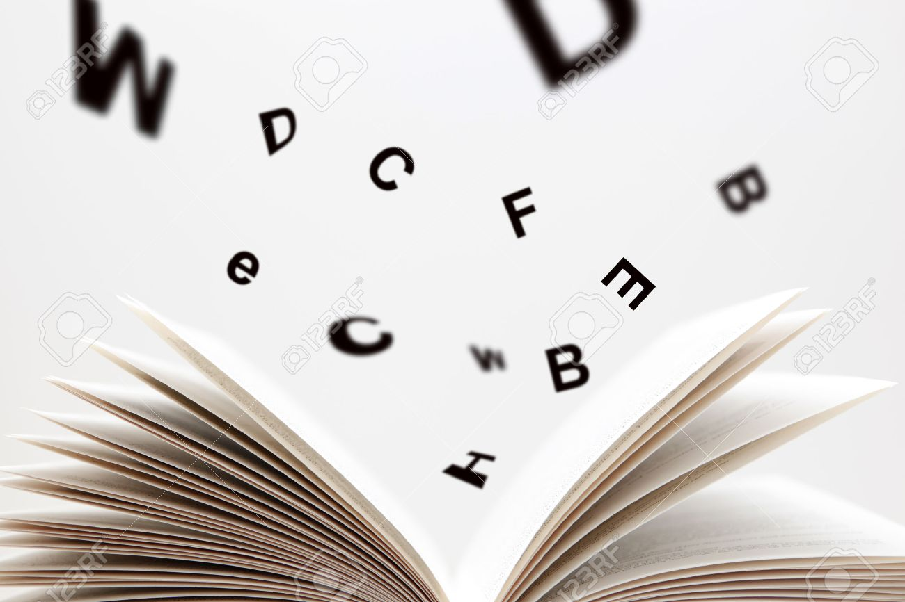 Open Book with flying letters - 23458076