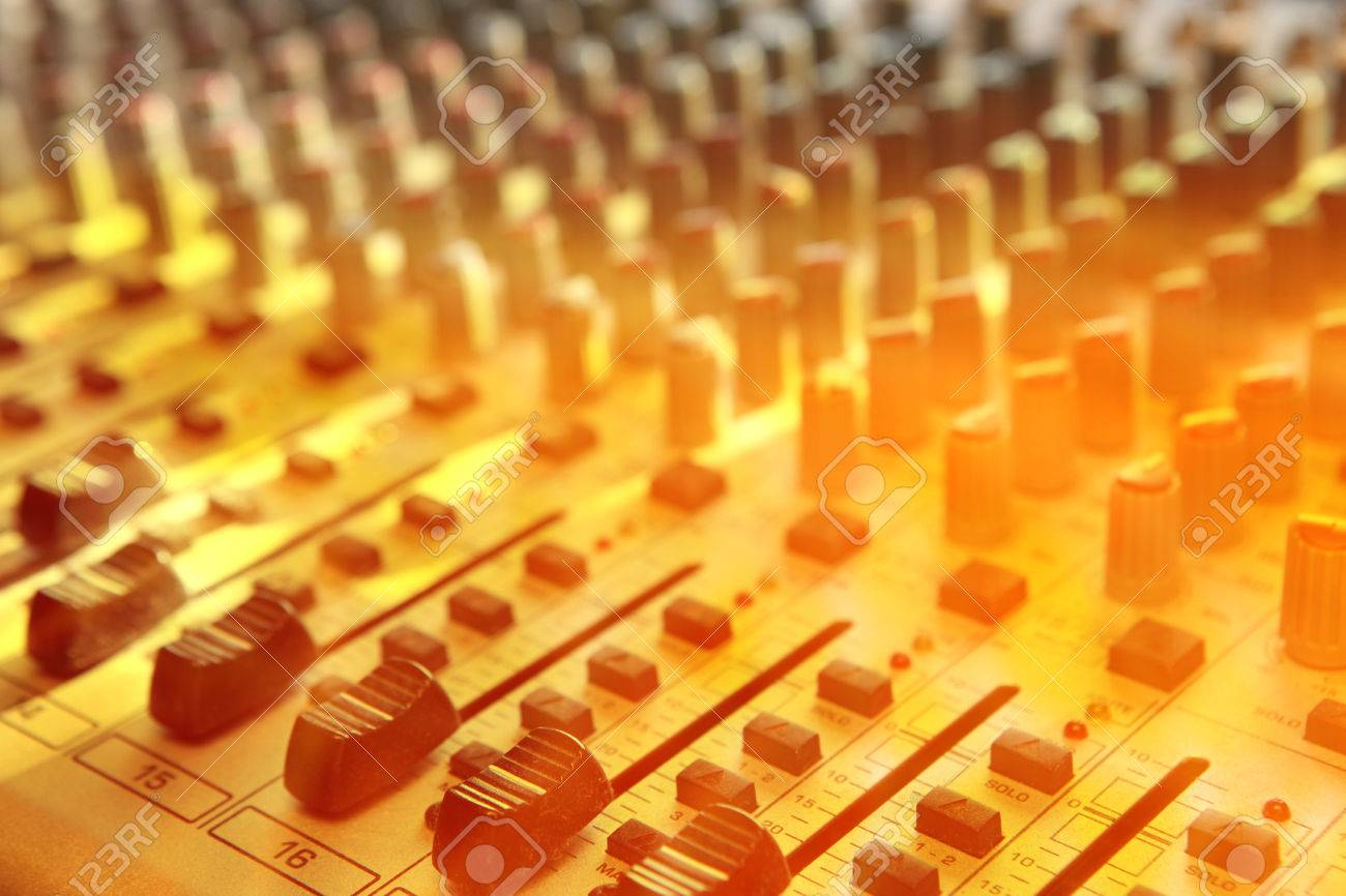 Sound studio record equipment with faders - 37378657