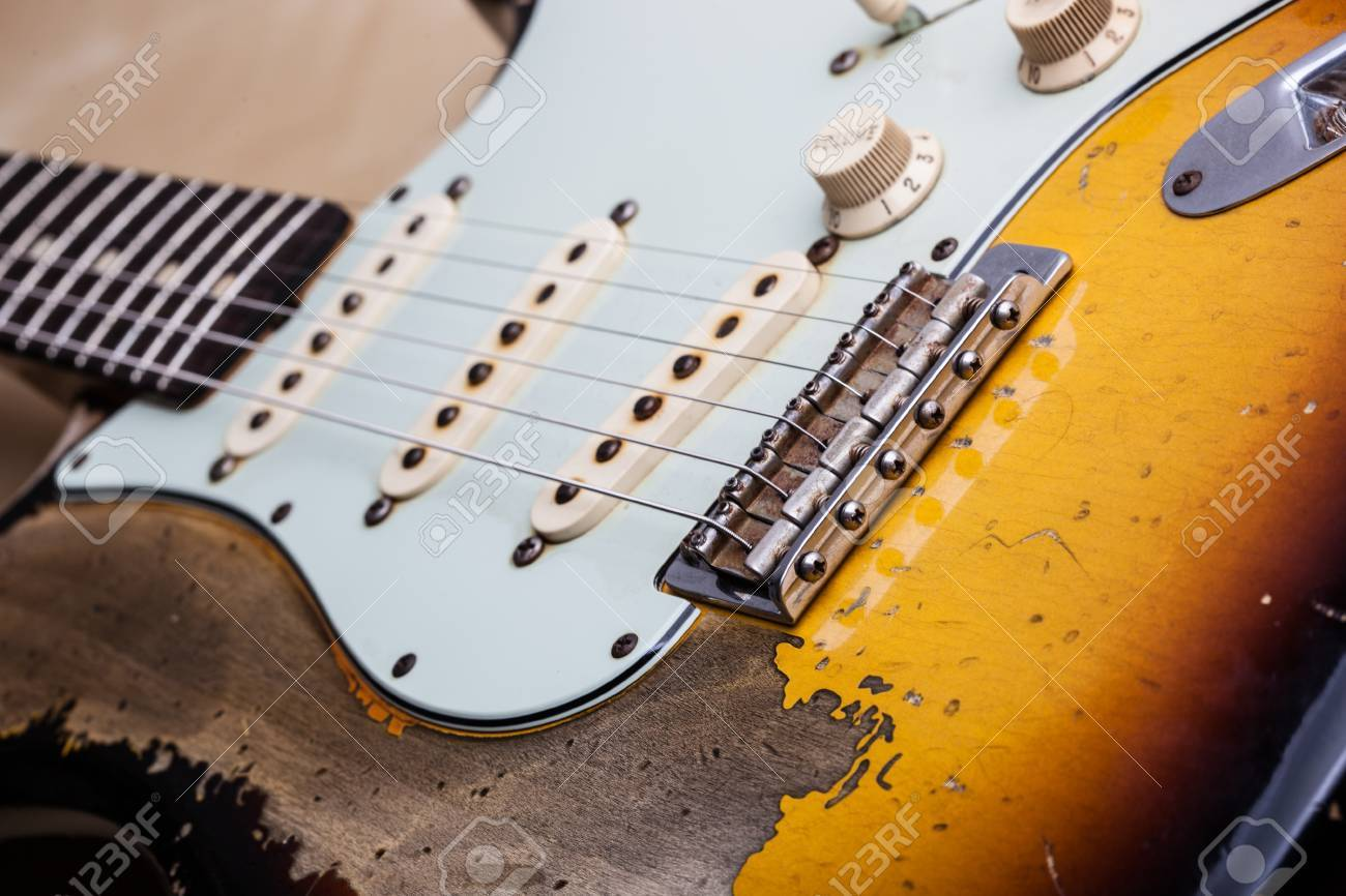 Vintage Heavy Relic Electric Guitar Close Up Stock Photo Picture