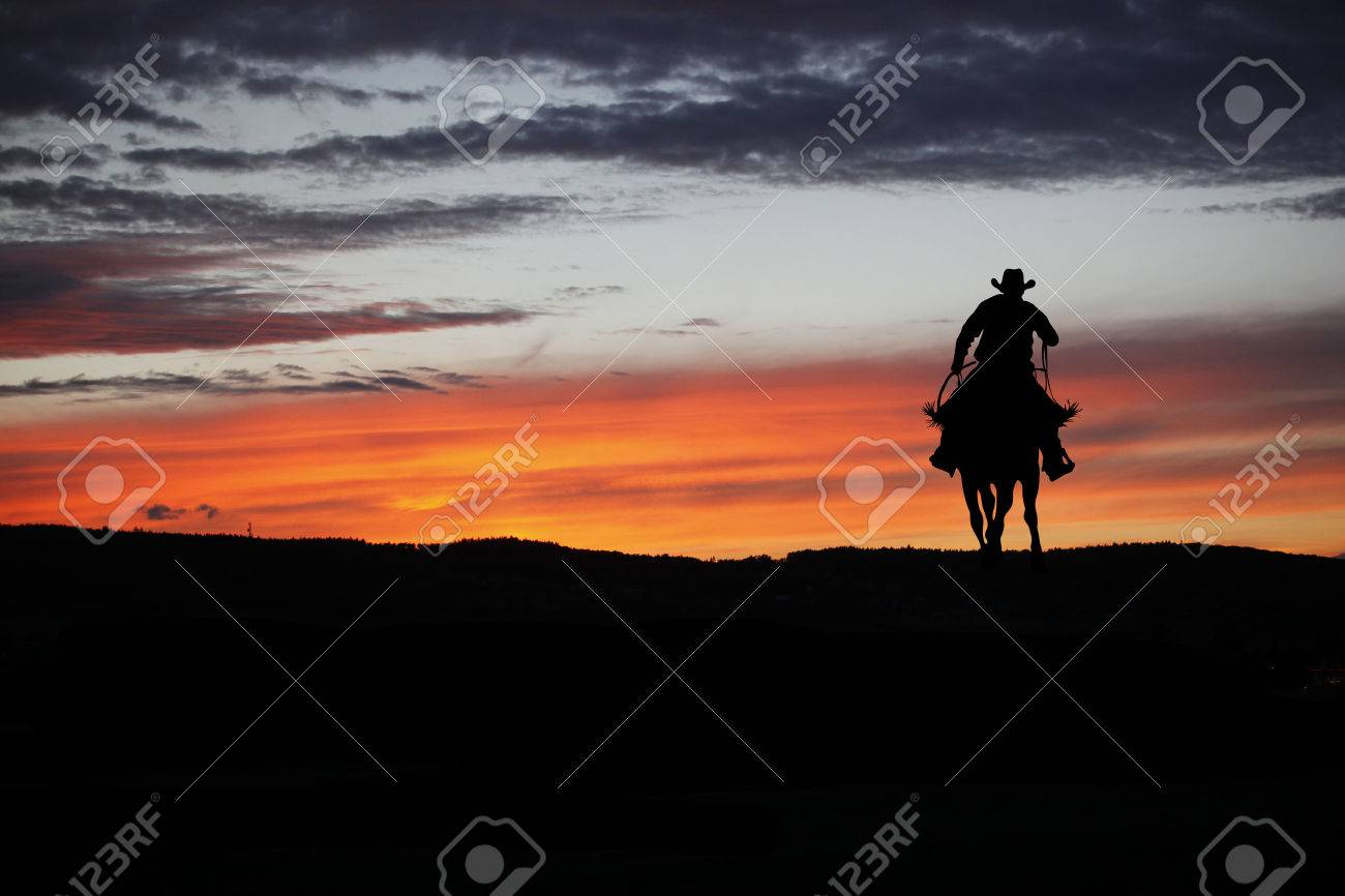 Cowboy silhouette on a horse during nice sunset - 64320097