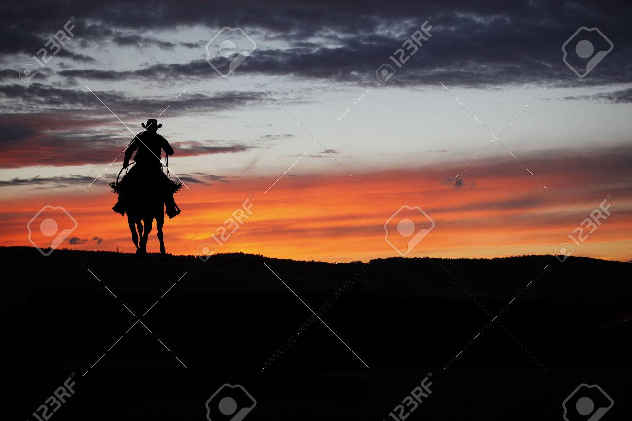 Cowboy silhouette on a horse during nice sunset - 64320198