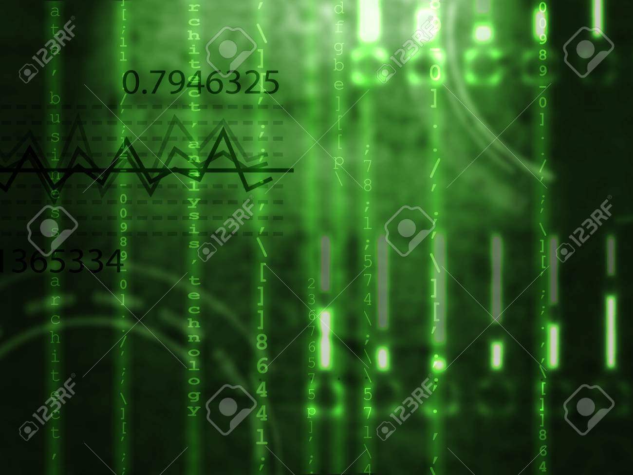 Matrix Style Numbers Background In Green Color With Numbers Stock ...