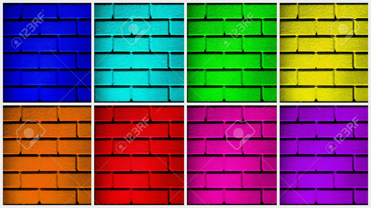 wall collage with 8 colored walls in different sizes and in all