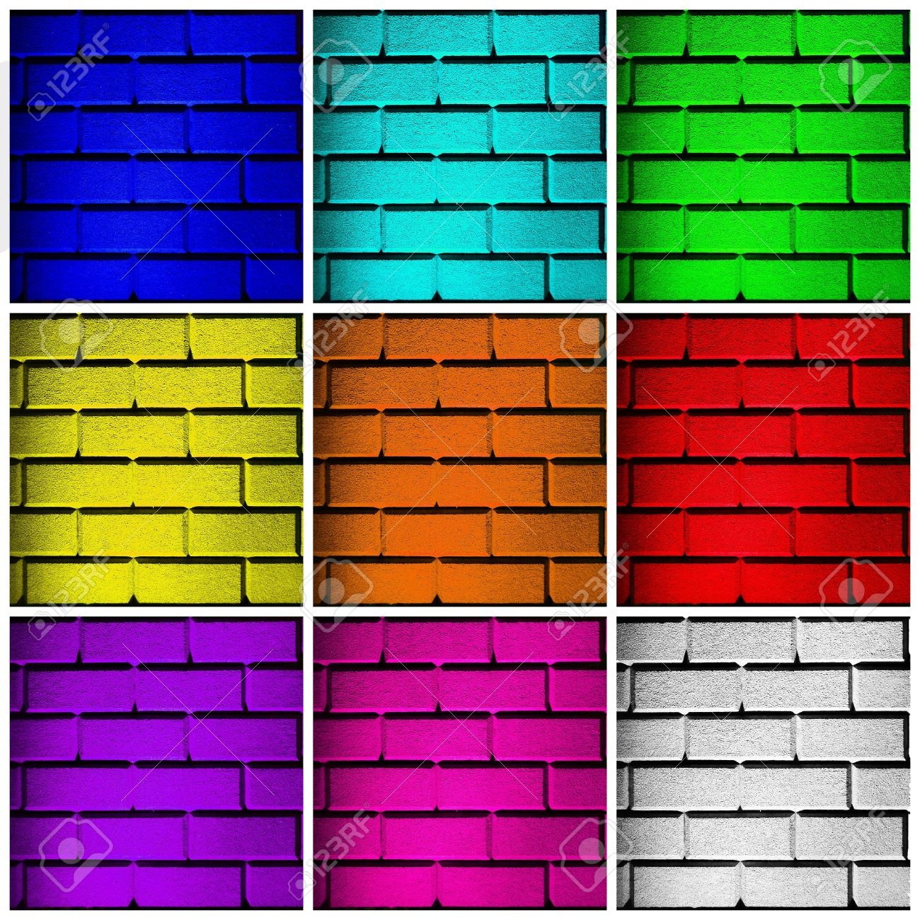 stock photo wall collage with 9 colored walls in different sizes and in all colors of the rainbow in a square frame