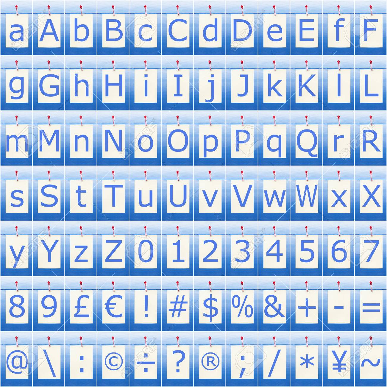 Complete Alphabet Numbers And Symbols Seamless In Blue Stock Photo