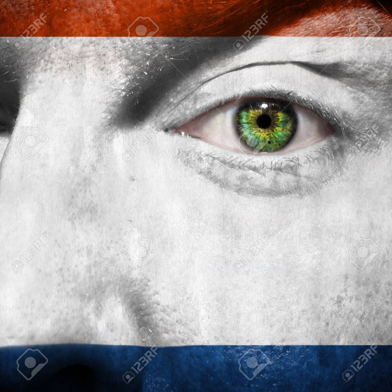 Crimea flag painted on a man's face to show support for Crimea Stock Photo - 27087267