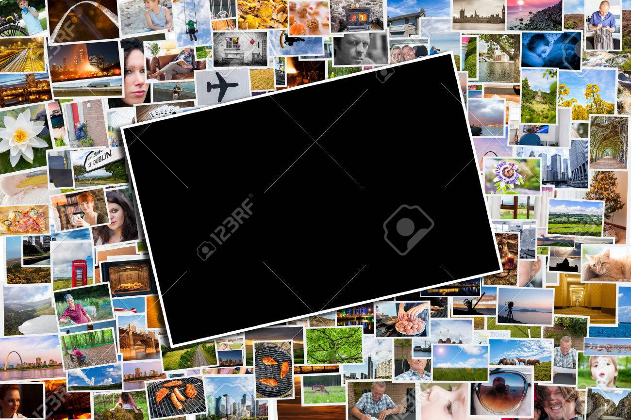 Postcard or photo template with a background of photos and postcards with several destinations from all over the world - 37350726