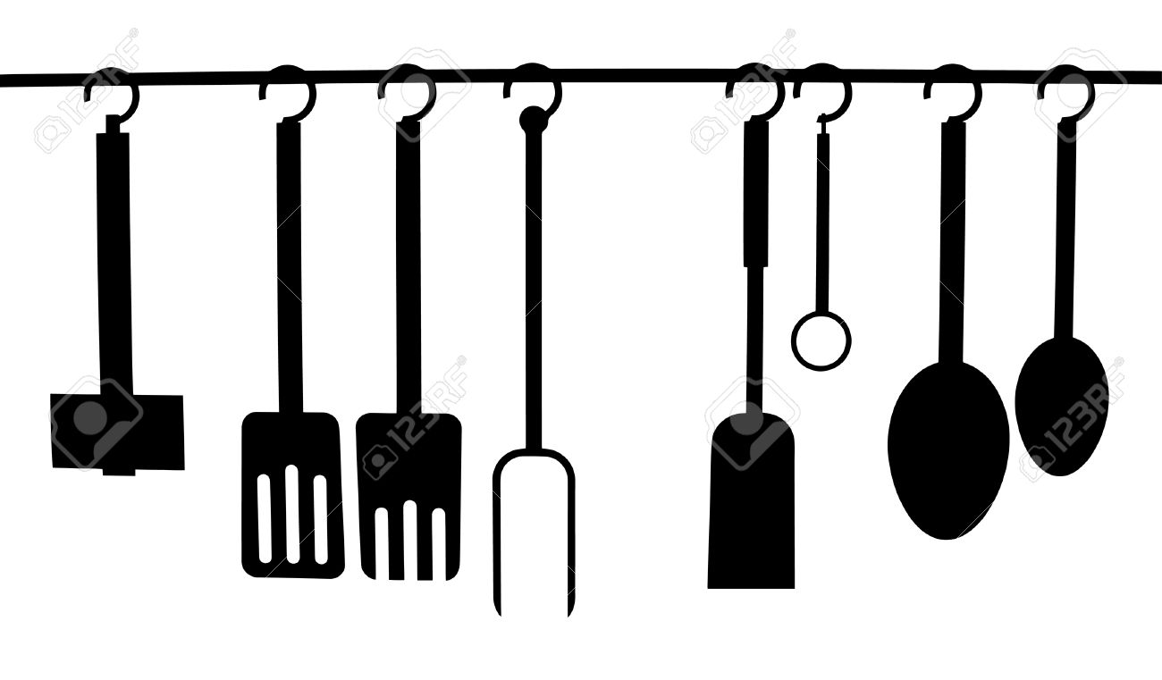 Vector   Vector Of A Set Of Kitchen Utensils Hanging From A Rack