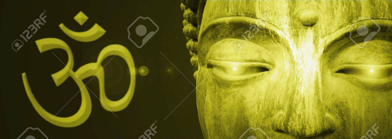 Detail of Buddha eyes abstract golden - 13987176