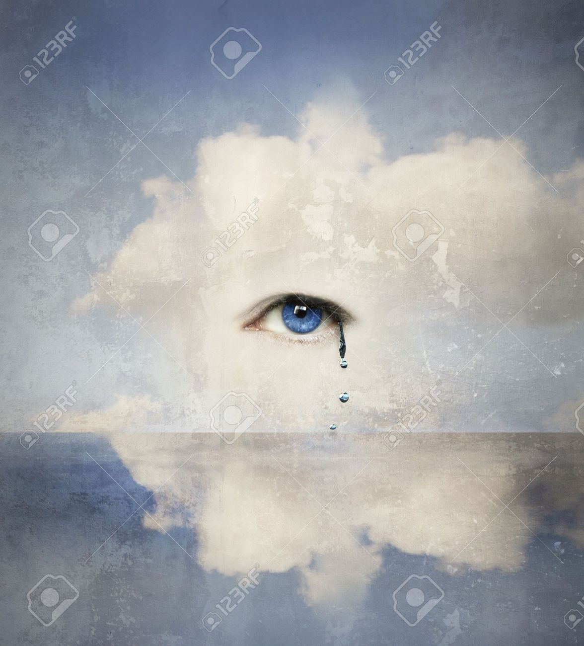Fantasy concept of a human eye crying in the clouds - 14713064