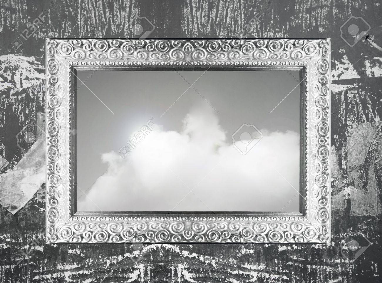 Elegant Silver Frame Hanging On Wall With An Imagine Of Sky And ...