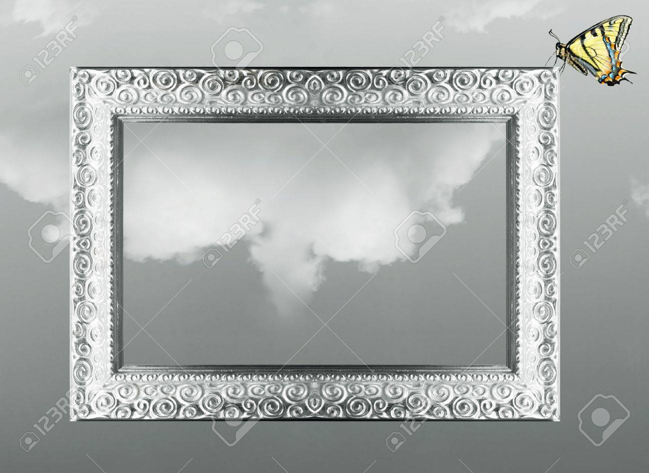 Imaginative Fantasy Background Of A Silver Baroque Frame With ...