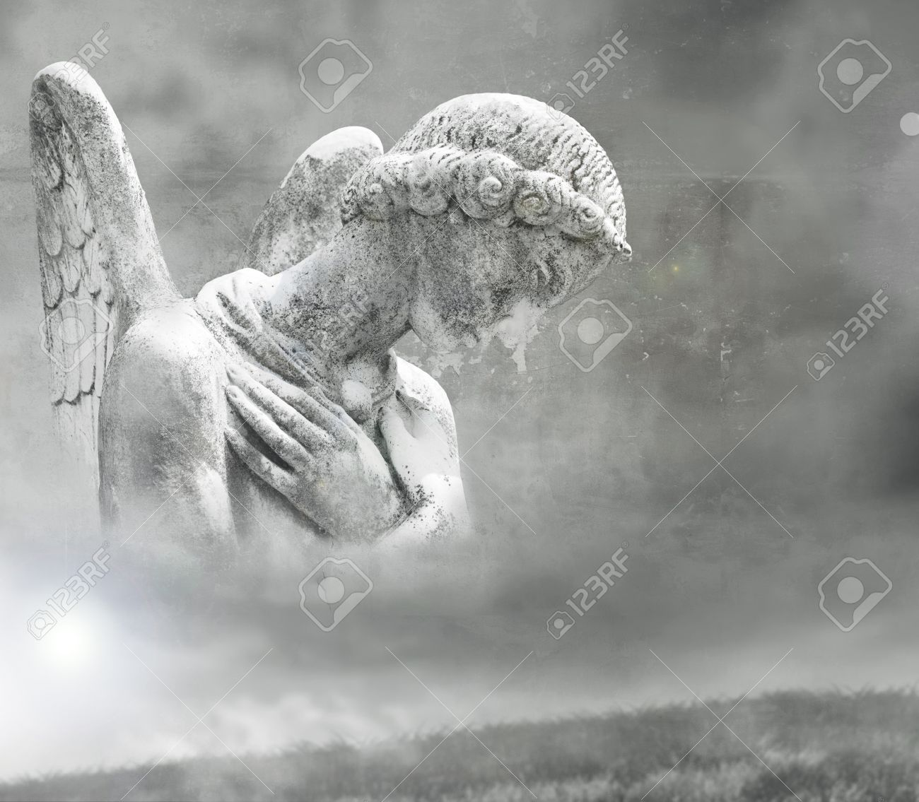 Abstract fantasy of a beautiful angel in a surrealistic background in black and white - 14789264
