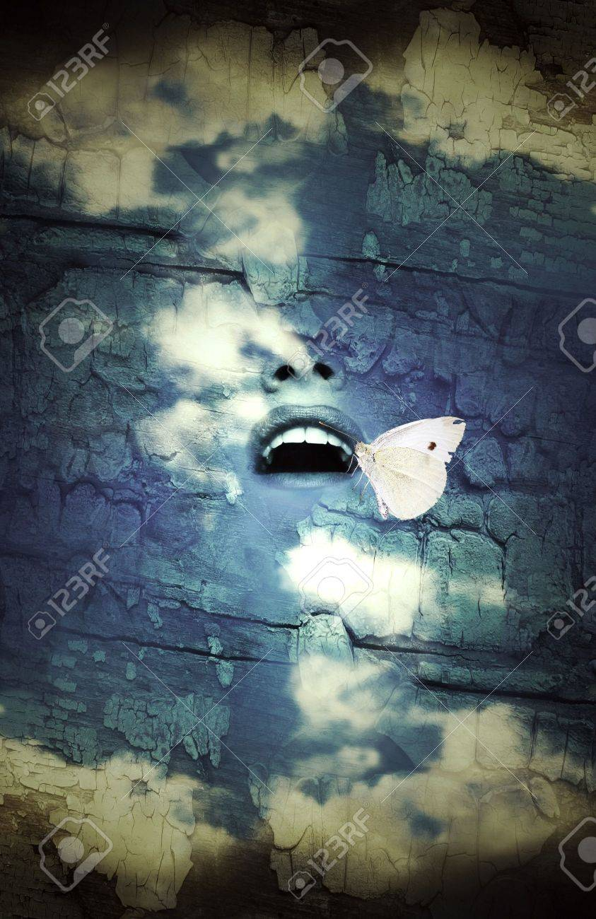 Fantasy surrealistic imagine of a human open mouth in the sky with a butterfly - 15701026
