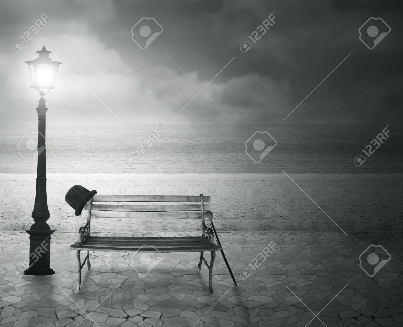 Beautiful vintage artistic imagine at the sea at night in black and white - 16271265