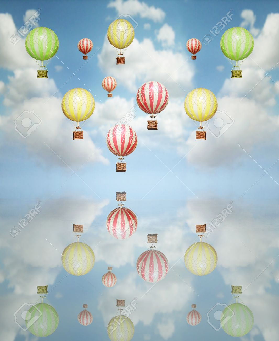 Beautiful abstract artistic background with many colorful hot air balloon in the sky with its reflection above - 16272048