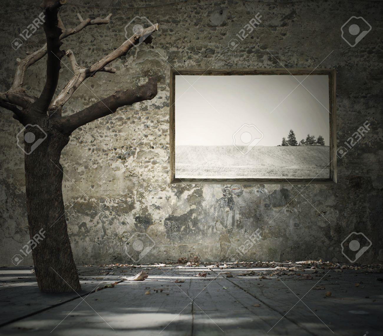 美しいメランコリックな背景と退廃的な部屋の中のツリーを表す葉階風景を