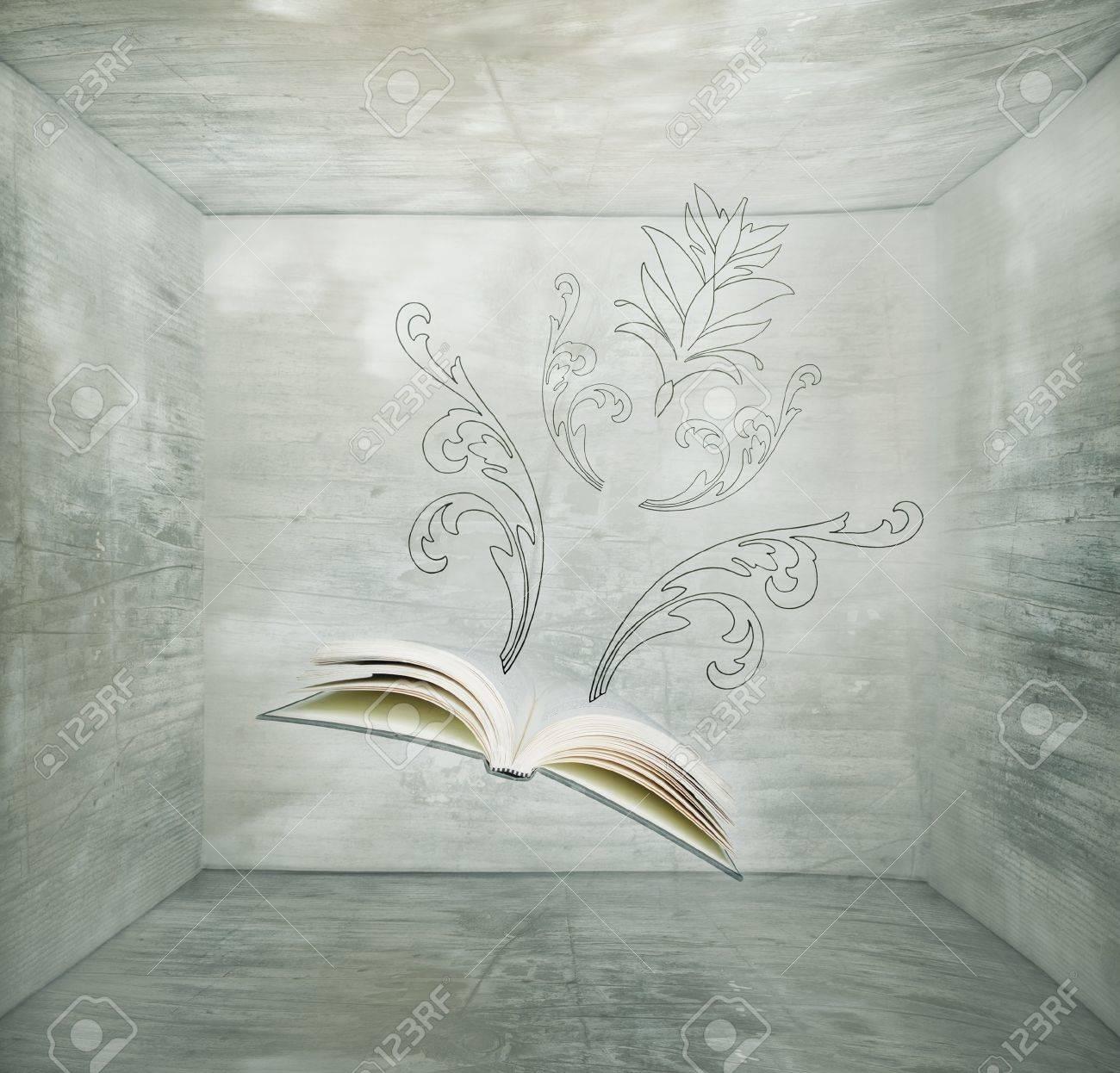 Fantasy Background Representent Un Livre Vole Dans Un Cube Et Quelques Dessins A La Main Elegants Qui Sortent De L Ouvrage