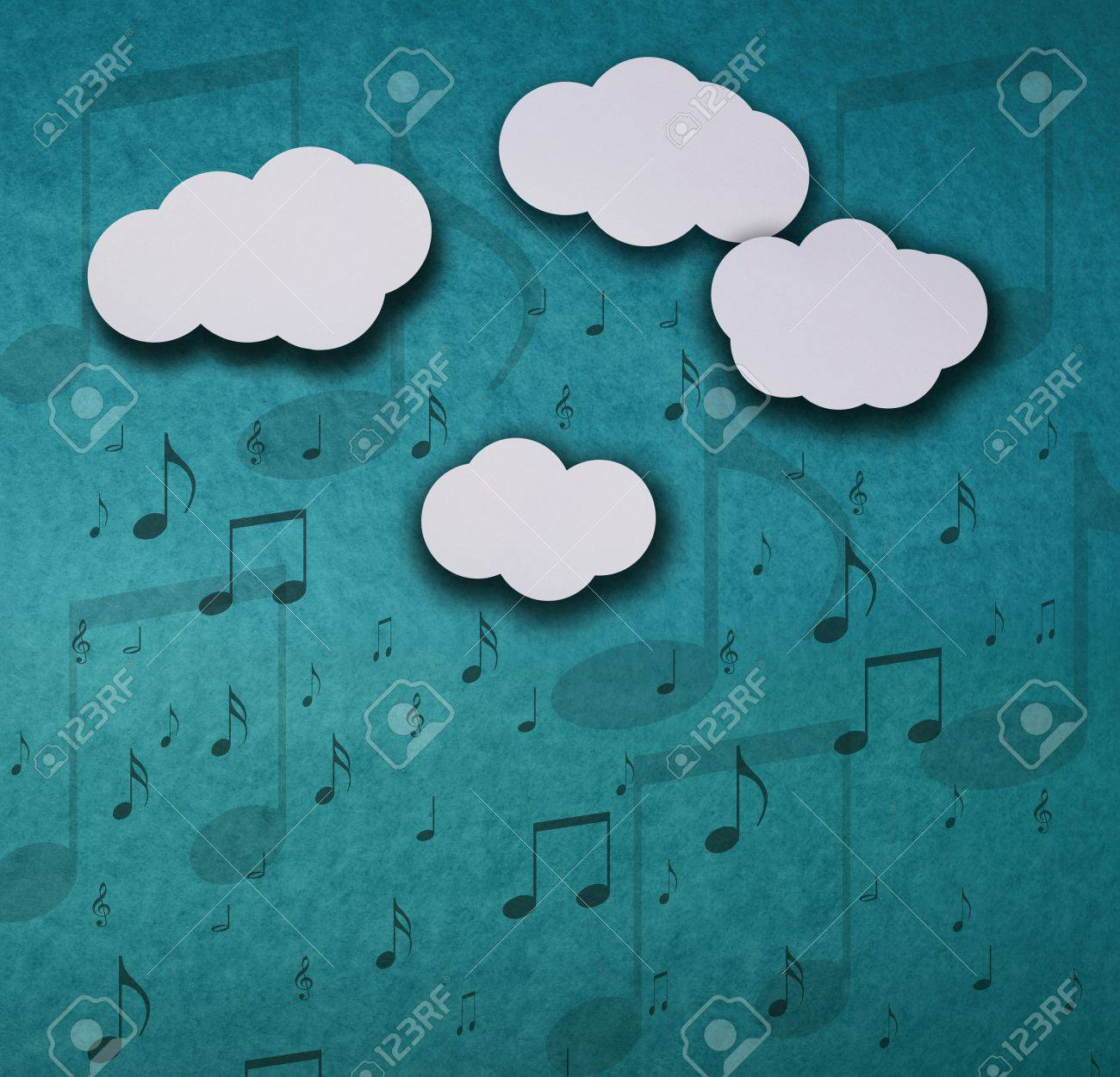 Background cardboard collage composition representing clouds, sky and notes Stock Photo - 19212329