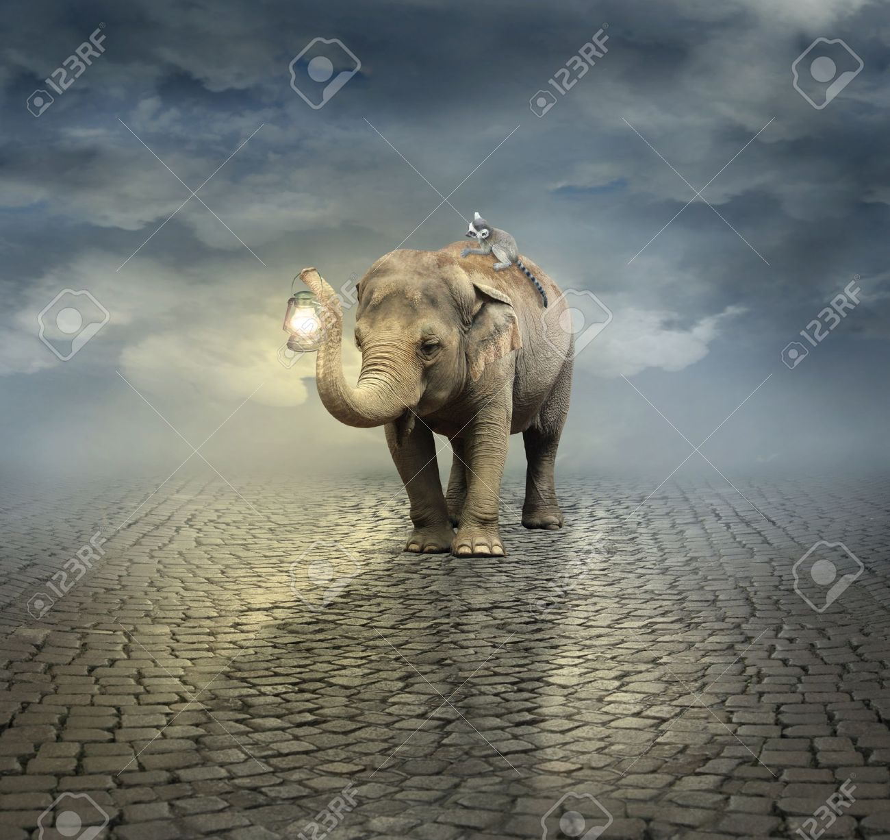 Surreal artistic illustration with an elephant carrying a lemur on its back and a lantern with its trunk - 21892520