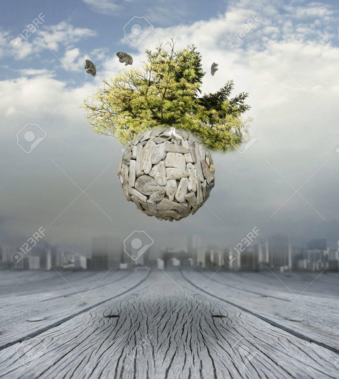 A conceptual beautiful surrealistic background representing a new world - 22837268
