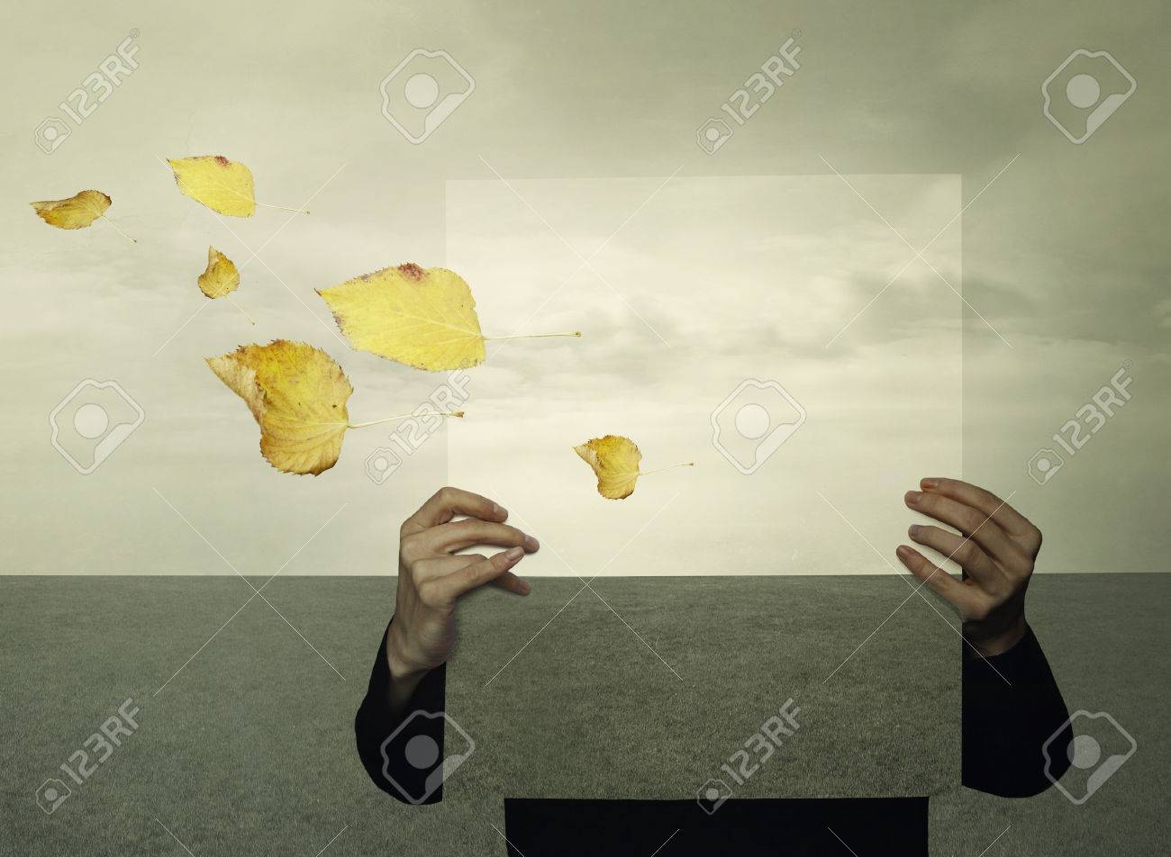 Surreal landscape with a person who holds a framework with the same landscape in the background like an optical effect and leaves in the wind - 27487741