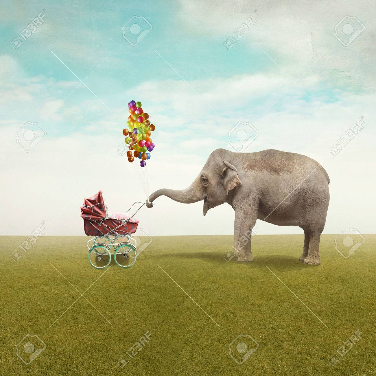 Funny illustration with a beautiful elephant leading walking her child in a wheelchair - 34190801