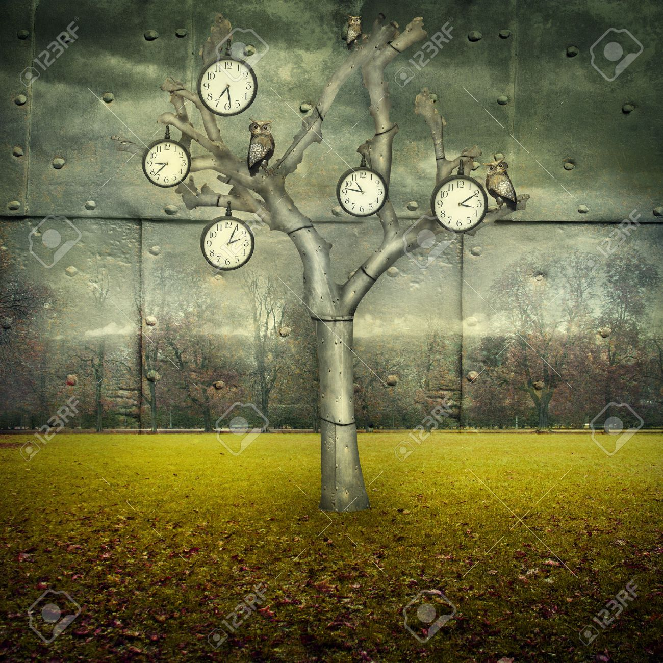 Surreal illustration of many clock and small mechanical owls on a tree and scattered in a mechanic landscape - 41301074