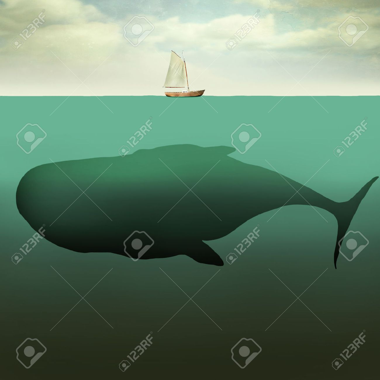 Surreal illustration of little sailboat in the middle of the ocean with the sea depth and a giant whale beneath it - 44235791