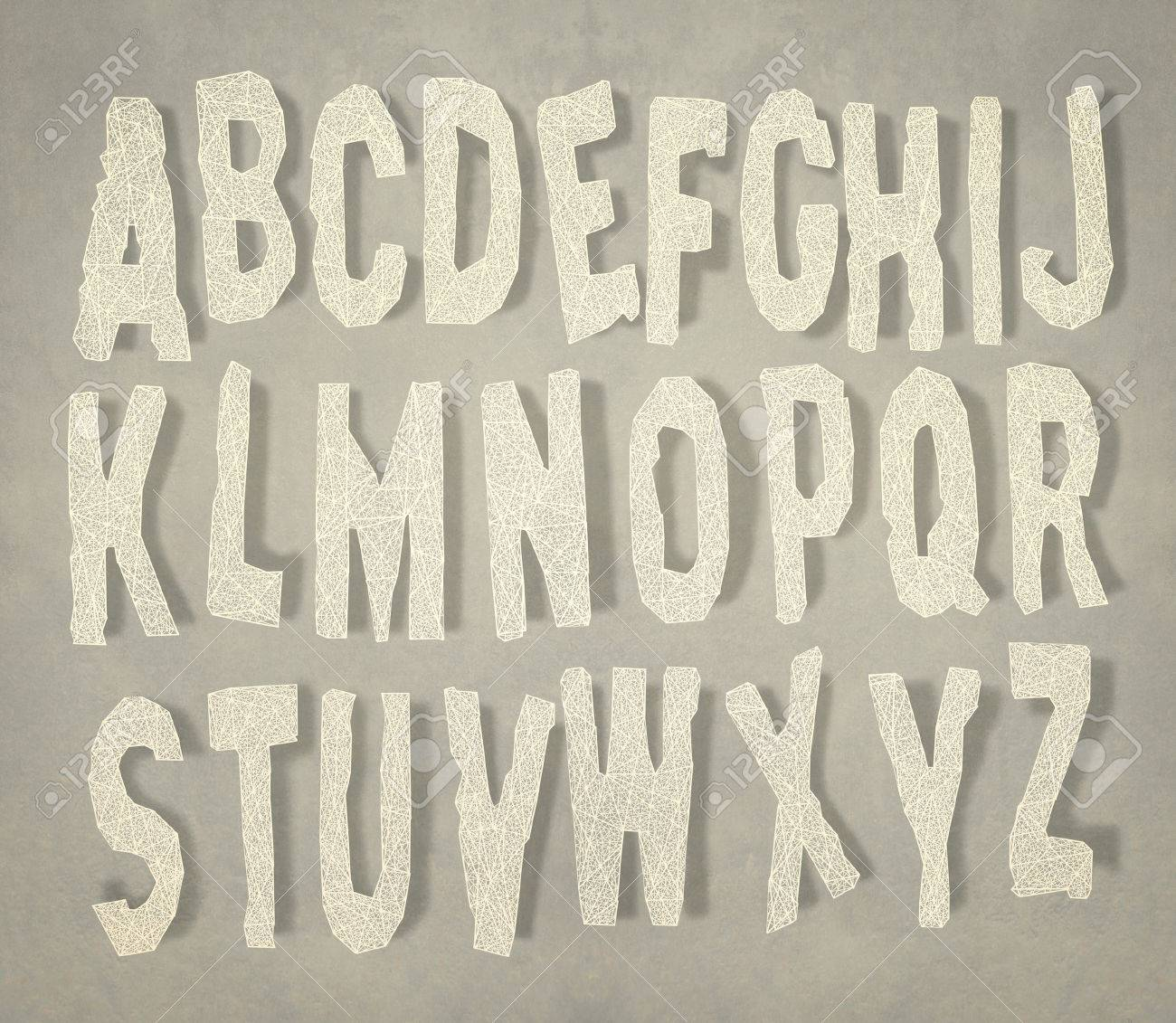 Alphabet In Capital Letters From A To Z With Their Shadow Stock Photo