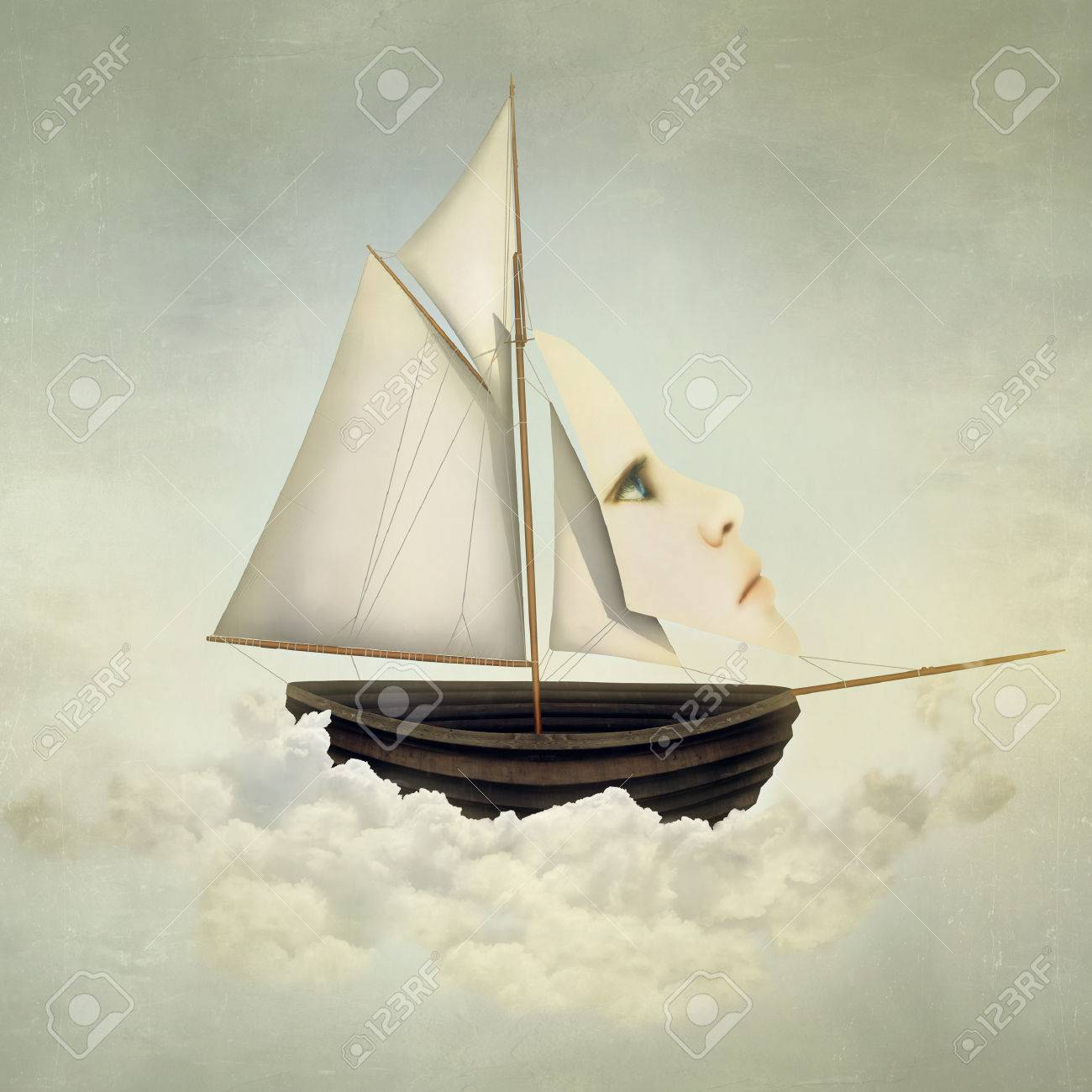 Surreal vessel above the clouds with full sail and a sail with a female face - 55092562