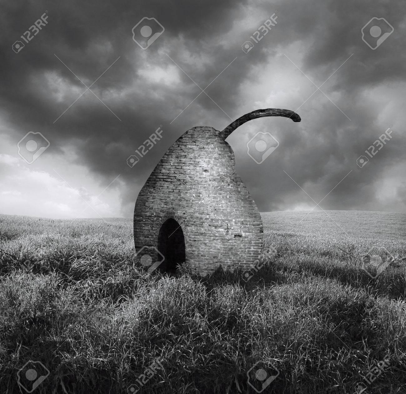 Elegant black and white surreal image representing a brick pearl