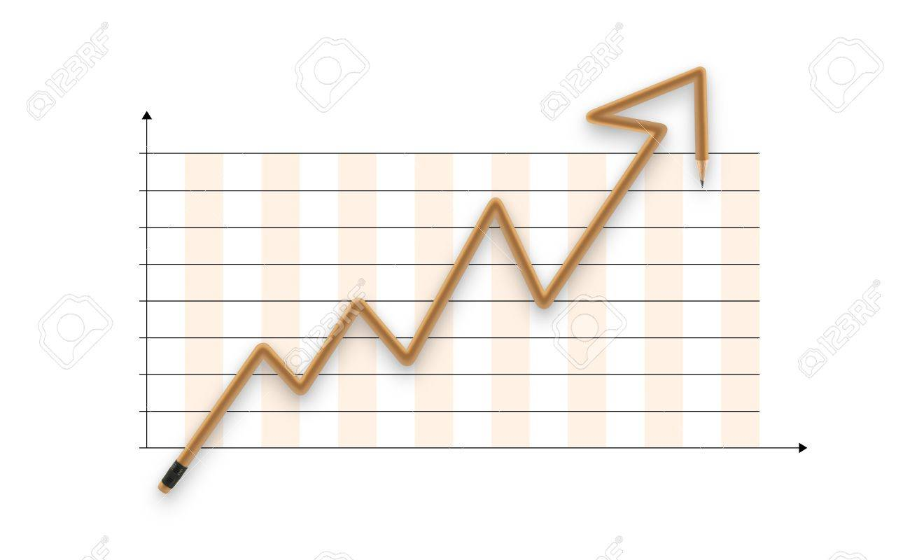 Success graph made of pencil with clipping path Stock Photo - 10575791