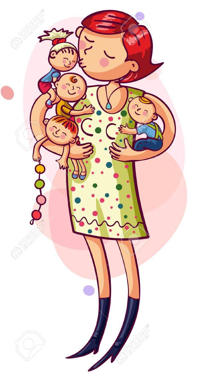 Young mother with with kids in their arms  Happy family Stock Vector - 18877284