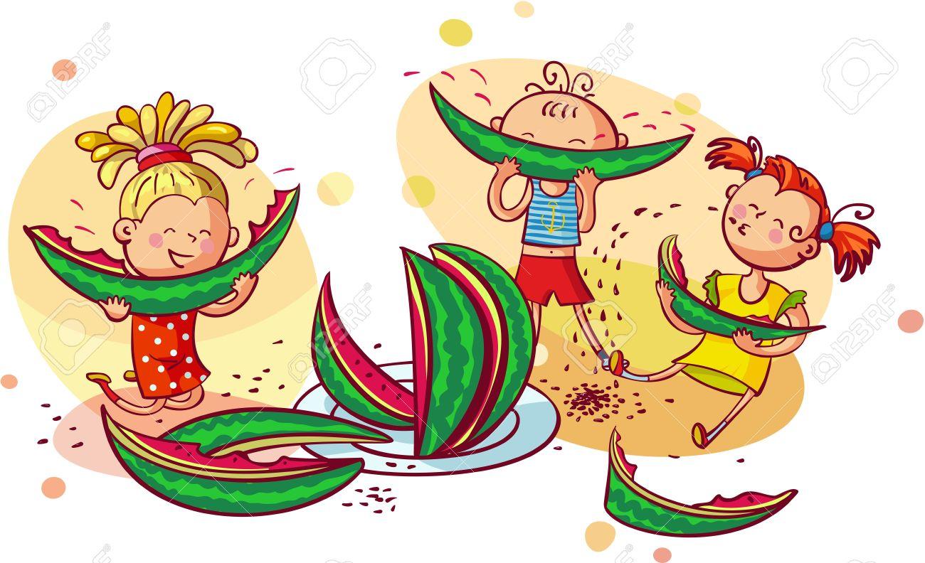 Glücklich Lächelnde Kinder Essen Wassermelone Lizenzfrei Nutzbare