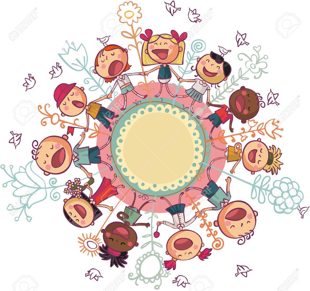 Kinder sitzen im kreis clipart  Singende Kinder Lizenzfreie Vektorgrafiken Kaufen: 123RF