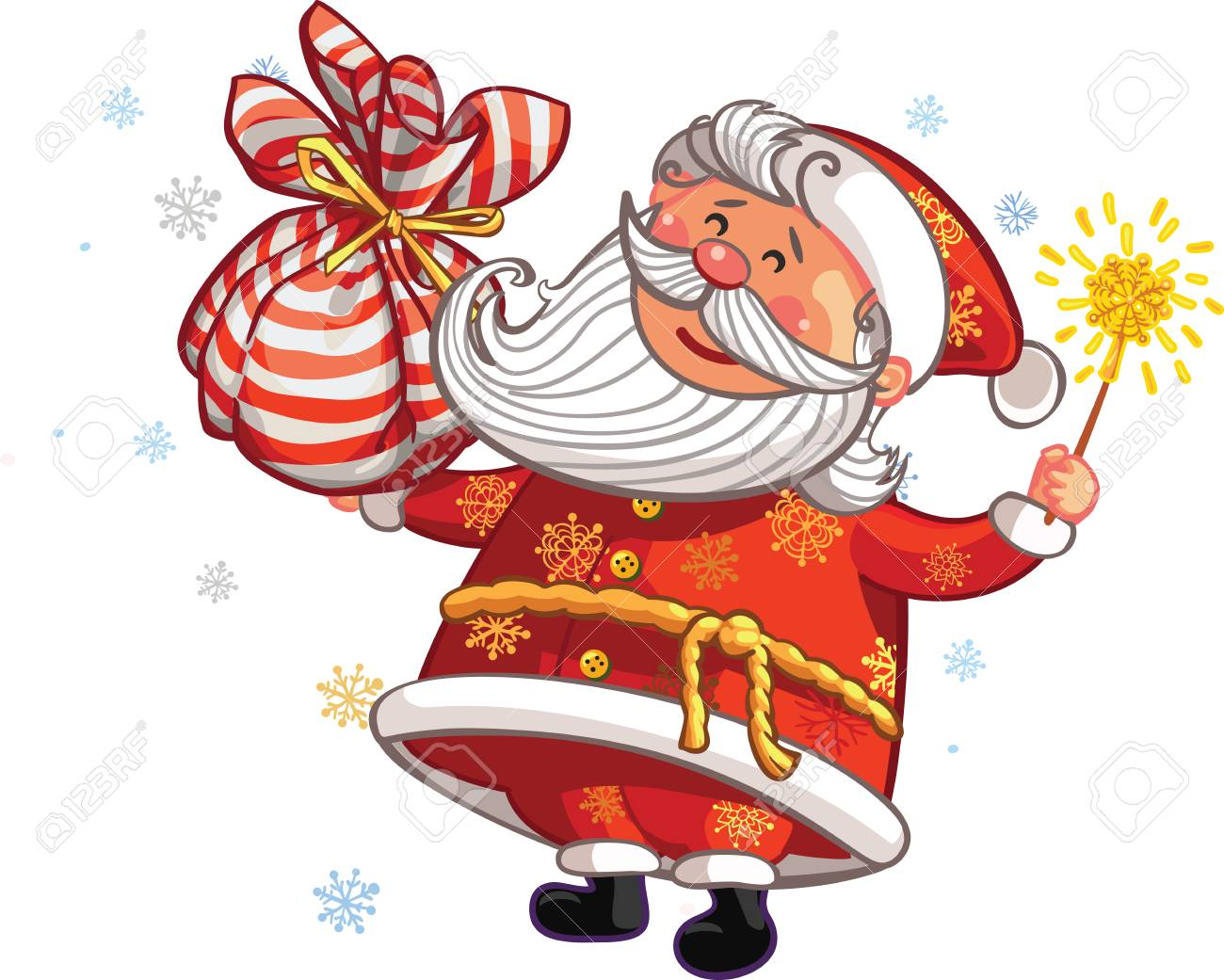 Vector christmas and new year greeting card canta claus with vector vector christmas and new year greeting card canta claus with magic wand m4hsunfo