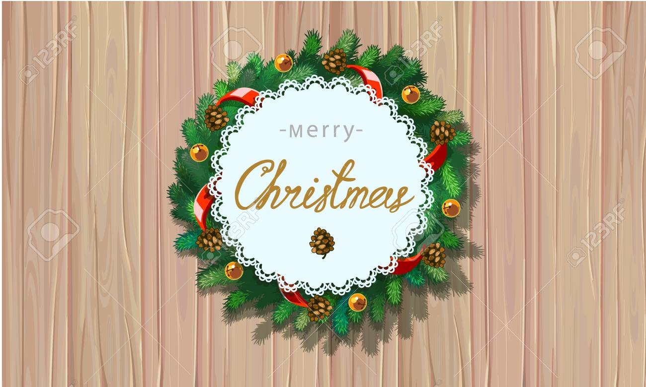 Merry christmas greetings vector illustration xmas wreath with merry christmas greetings vector illustration xmas wreath with greeting message on background from christmas tree kristyandbryce Gallery
