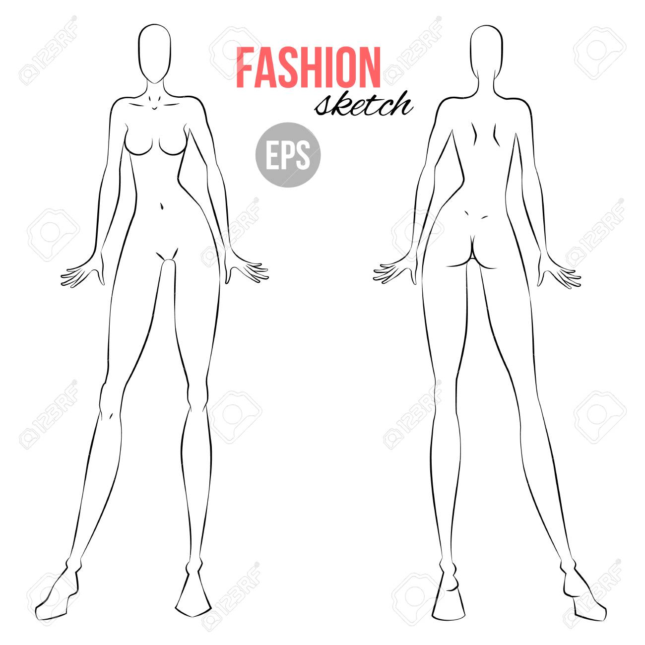 Vector Outline Girl Model Template For Fashion Sketching Illustration Royalty Free Cliparts Vectors And Stock Illustration Image 94895521