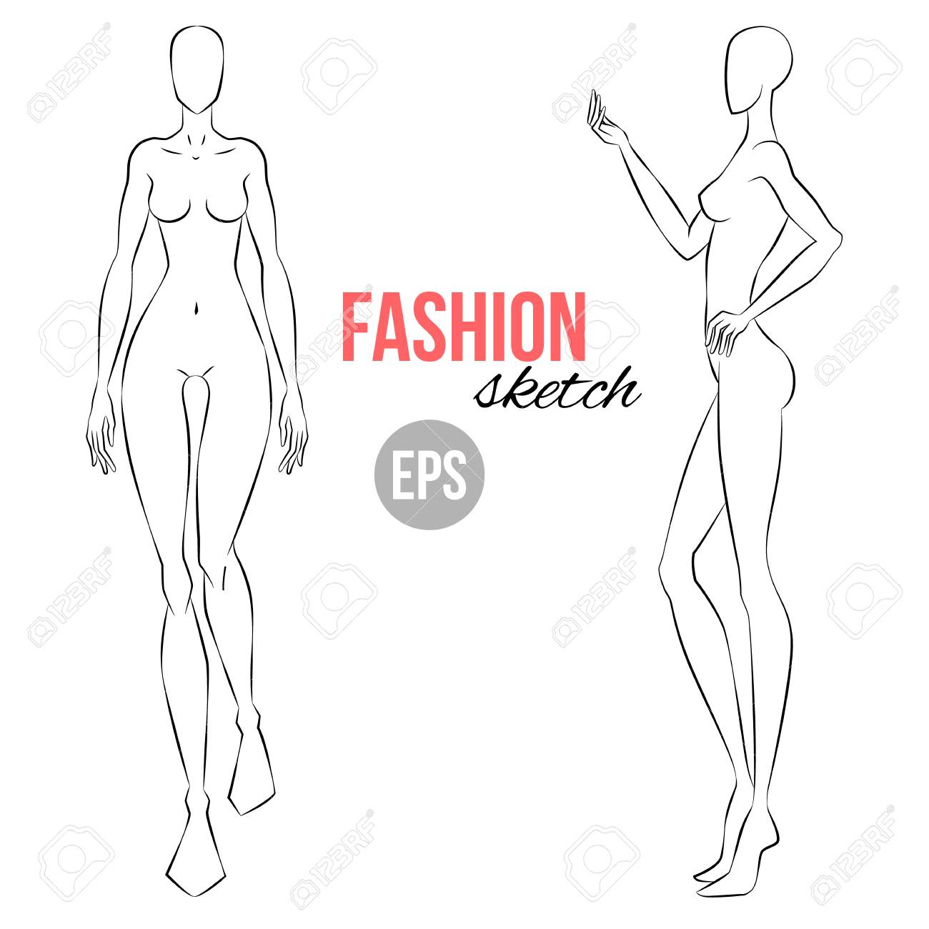 Vector Outline Girl Model Template For Fashion Sketching Illustration Royalty Free Cliparts Vectors And Stock Illustration Image 94895525