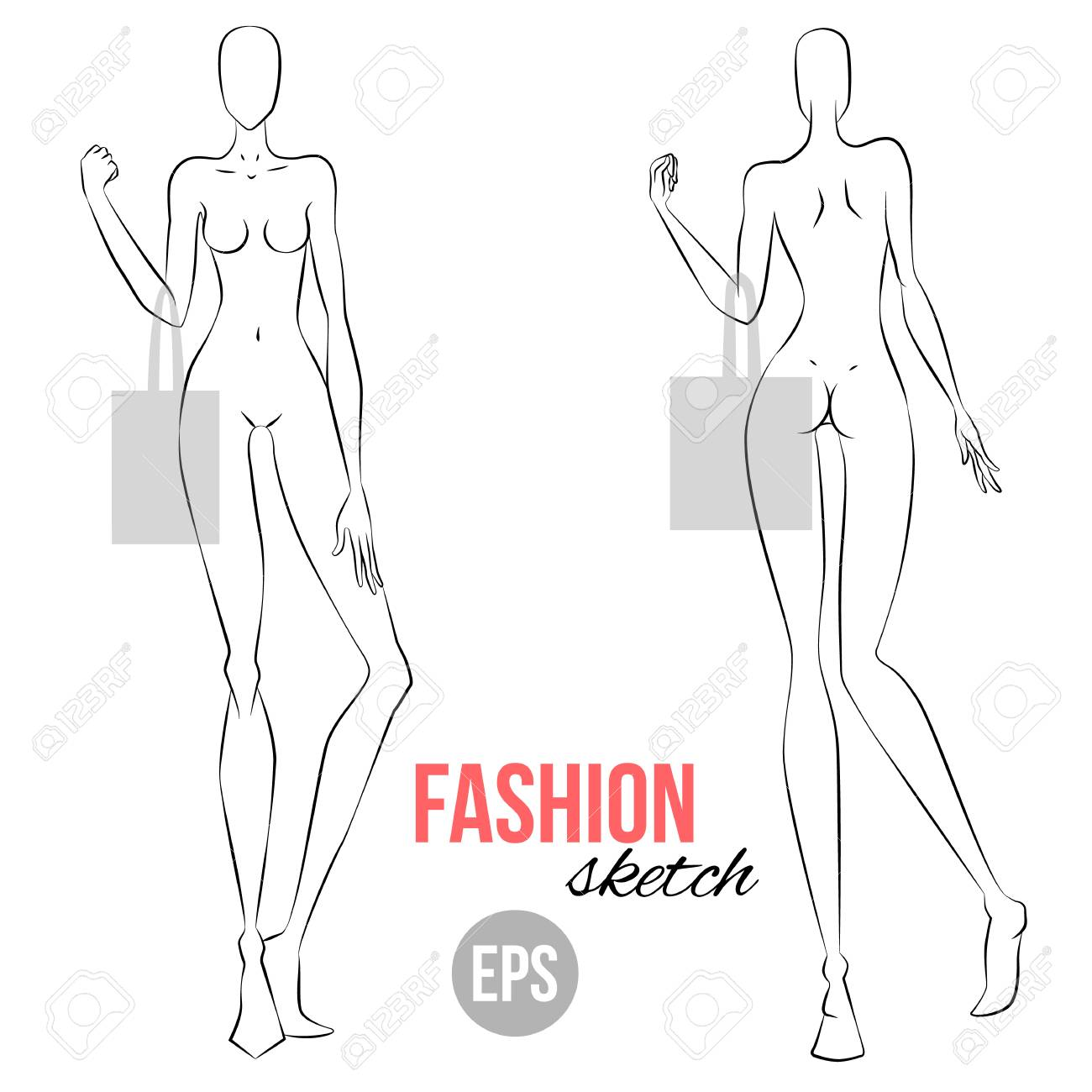 Pretty fashion model template images fashion model template melo vector outline girl model template for fashion sketching maxwellsz