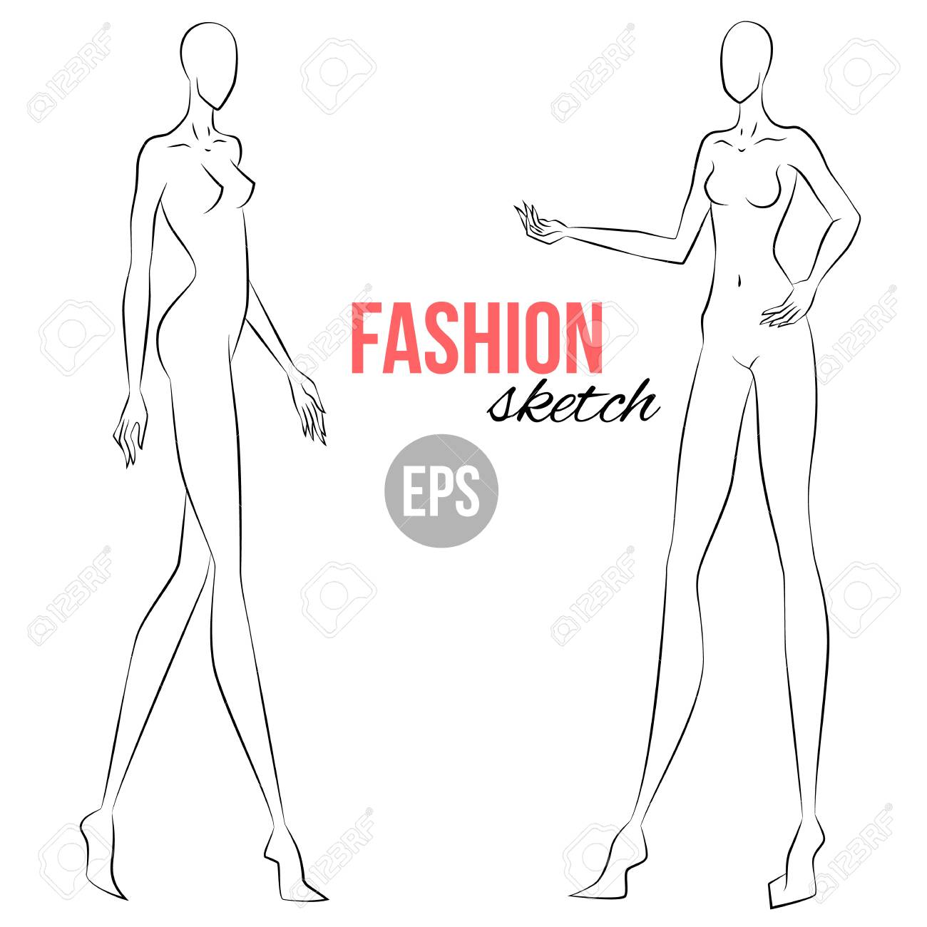 Woman S Figure Sketch Different Poses Template For Drawing Royalty Free Cliparts Vectors And Stock Illustration Image 97069516