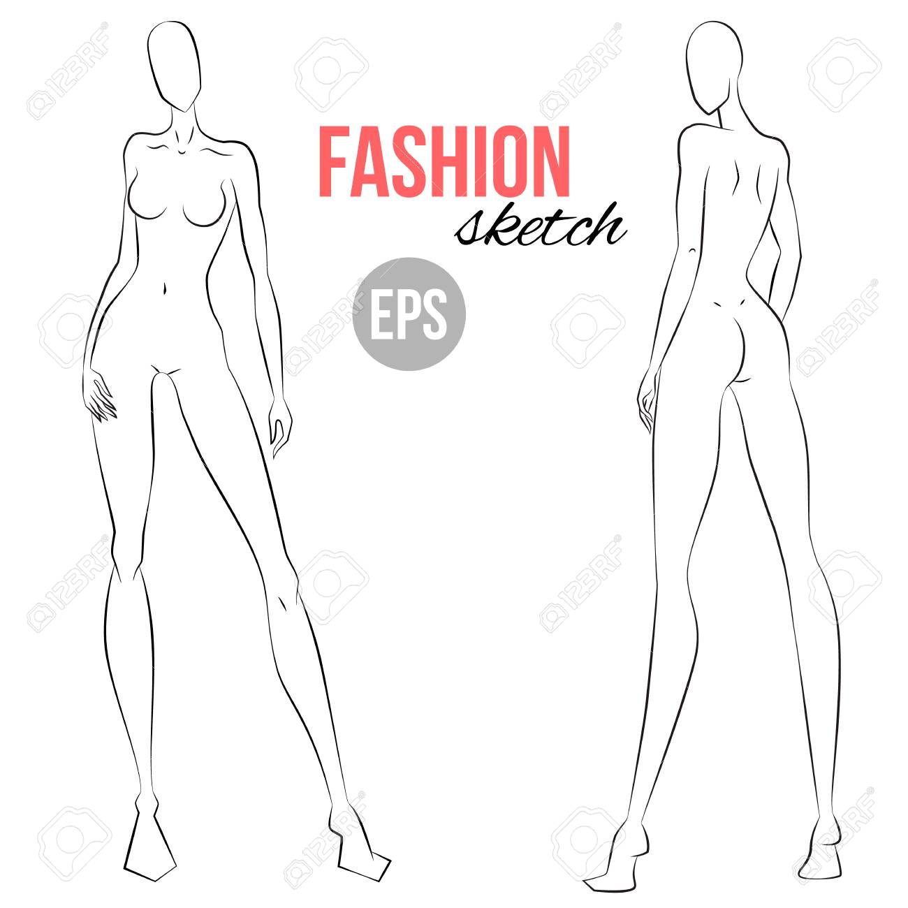 Woman S Figure Sketch Different Poses Template For Drawing Royalty Free Cliparts Vectors And Stock Illustration Image 97069521