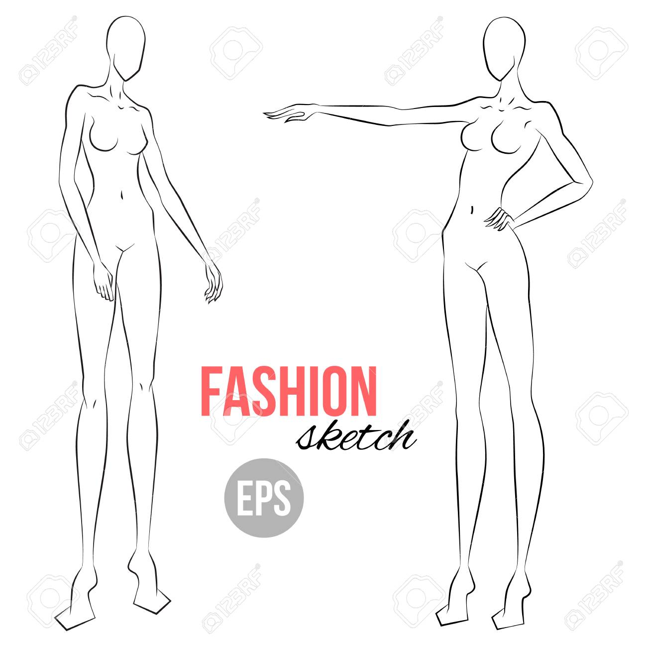 Woman S Figure Sketch Different Poses Template For Drawing Royalty Free Cliparts Vectors And Stock Illustration Image 97069520