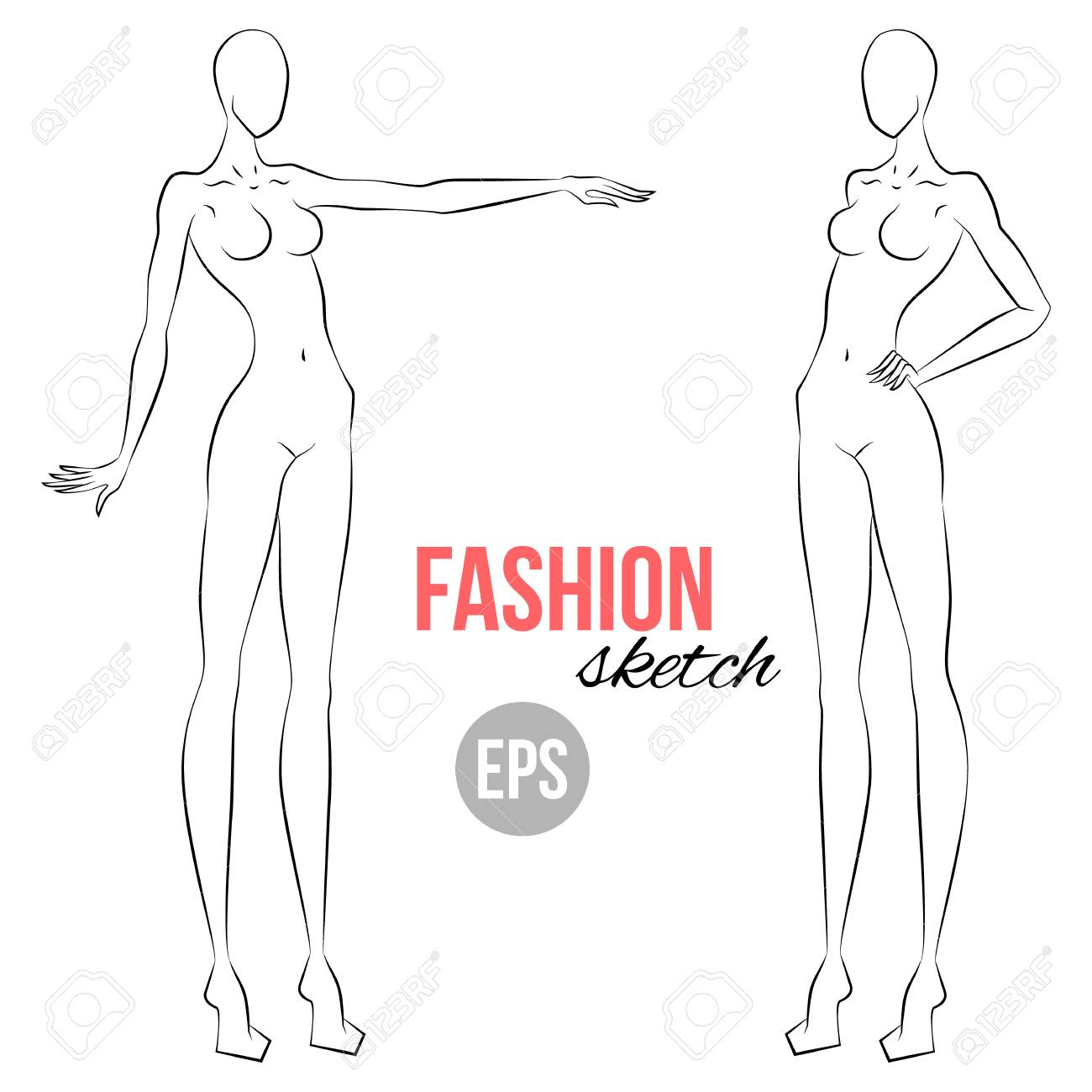 Womans Figure Sketch Different Poses Template For Drawing
